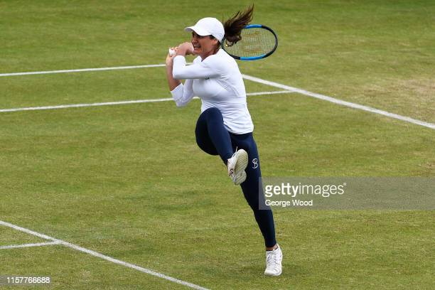 Monica Niculescu of Romania in action during her women's final against Tímea Babos of Hungary during the Ilkley Trophy Day Seven at Ilkley Lawn...