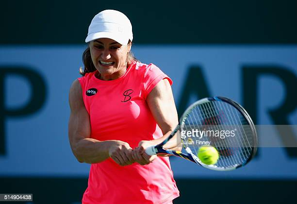 Monica Niculescu of Romania in action in her match against Heather Watson of Great Britain during day five of the BNP Paribas Open at Indian Wells...