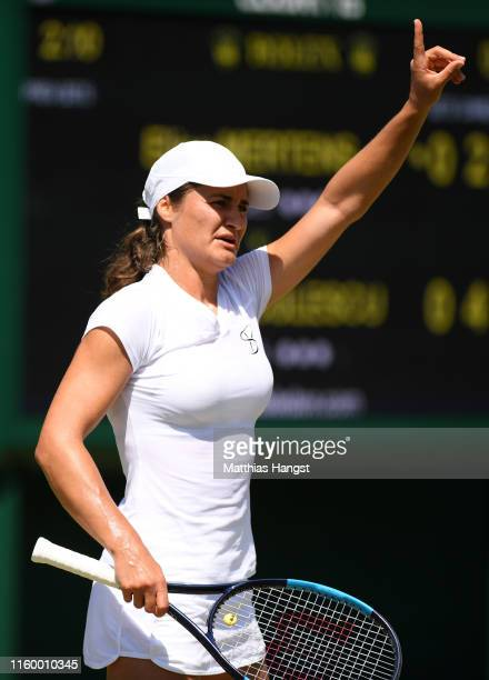 Monica Niculescu of Romania in her Ladies' Singles second round match against Elise Mertens of Belgium during Day four of The Championships Wimbledon...
