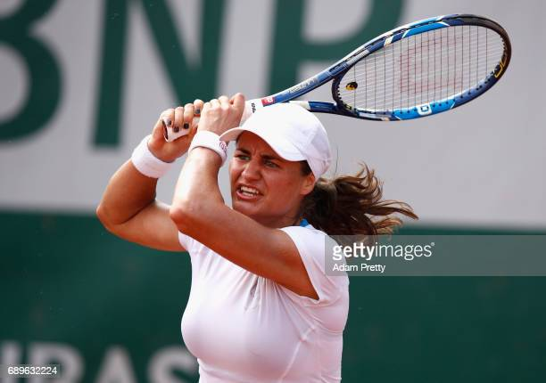 Monica Niculescu of Romania plays a backhand during the ladies singles first round match against Anett Kontaveitt of Estonia on day two of the 2017...