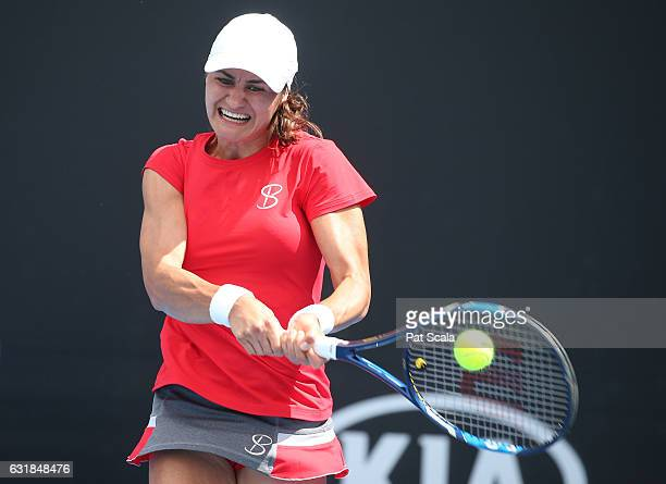 Monica Niculescu of Romania plays a backhand in her first round match against Anna Blinkova of Russia on day two of the 2017 Australian Open at...