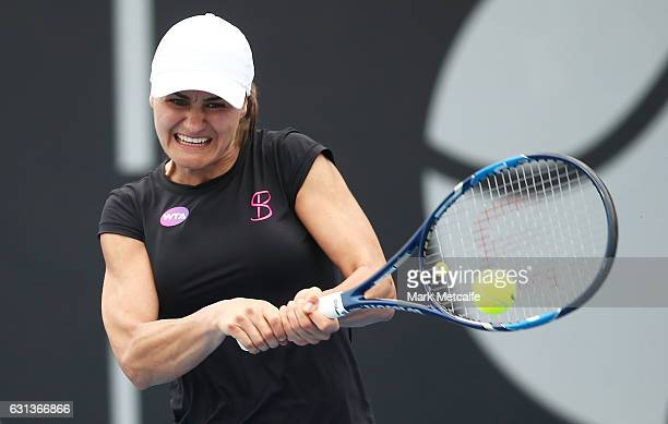 Monica Niculescu of Romania plays a backhand in her second round match against Kirsten Flipkens of Belgium during day one of the 2017 Hobart...