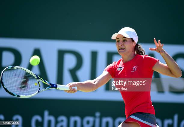 Monica Niculescu of Romania plays a forehand in her match against Sorana Cirstea of Romania during the BNP Parisbas Open at Indian Wells Tennis...