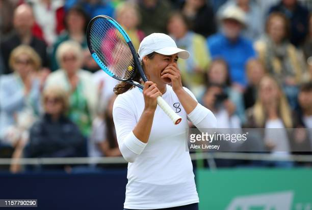 Monica Niculescu of Romania reacts after match point during victory over Timea Babos of Hungary during the Women's Final at Ilkley Lawn Tennis Squash...