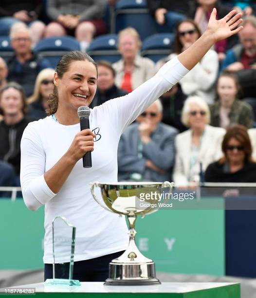 Monica Niculescu of Romania reacts after winning her women's final against Tímea Babos of Hungary during the Ilkley Trophy Day Seven at Ilkley Lawn...