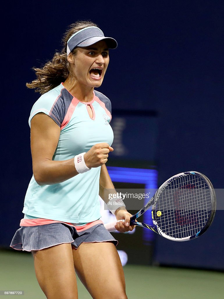Monica Niculescu of Romania reacts against Barbora Strycova of Czech Republic during her first round Women's Singles match on Day One of the 2016 US Open at the USTA Billie Jean King National Tennis Center on August 29, 2016 in the Flushing neighborhood of the Queens borough of New York City.