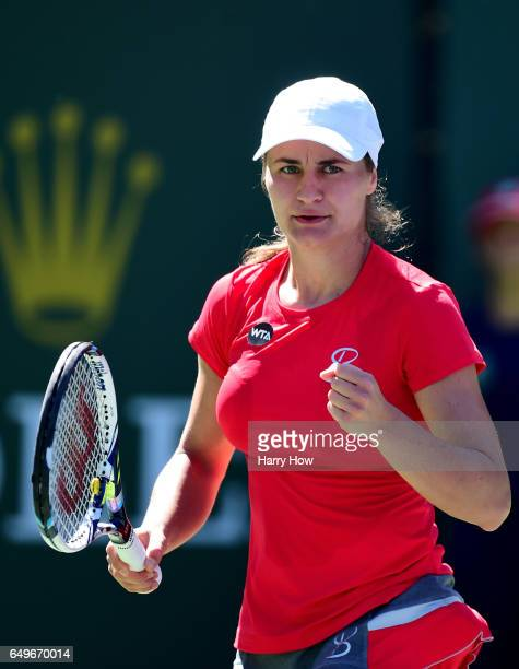 Monica Niculescu of Romania reacts as she wins a point in her match against Sorana Cirstea of Romania during the BNP Parisbas Open at Indian Wells...