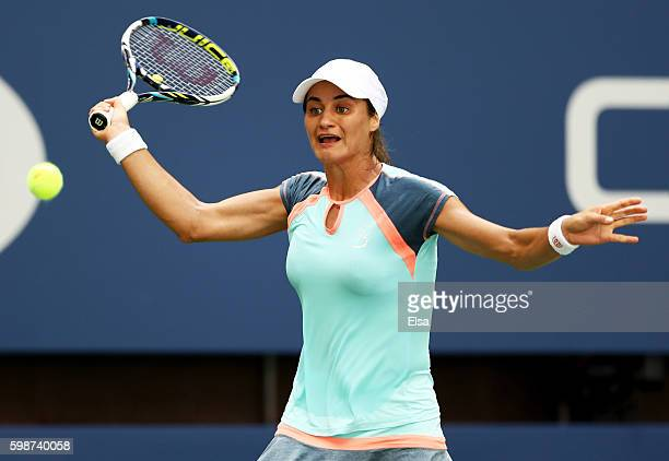 Monica Niculescu of Romania returns a shot to Caroline Wozniacki of Denmark during her third round Women's Singles match on Day Five of the 2016 US...