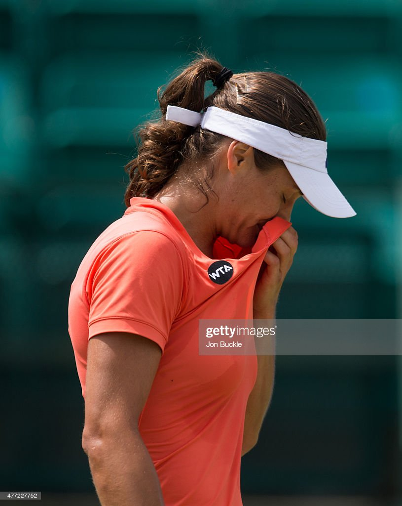 Monica Niculescu of Romania stands during her match against Ana Konjuh of Croatia at Nottingham Tennis Centre on June 15, 2015 in Nottingham, England.