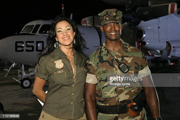 Monica Noguera and guest during 'A Tribute To Our Heroes' Backstage at Naval Station Norfolk in Norfolk Virginia United States
