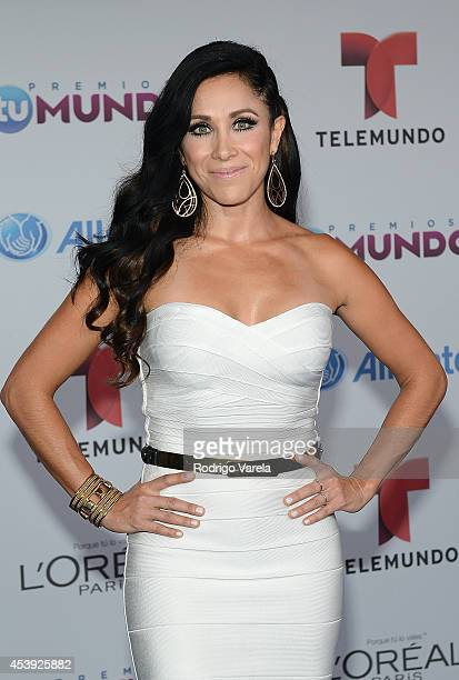 Monica Noguera arrives at Premios Tu Mundo Awards at American Airlines Arena on August 21 2014 in Miami Florida