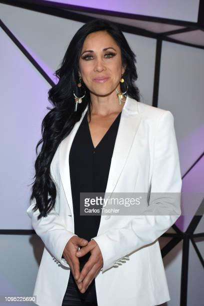 Monica Noguera poses for photos during a press conference of MVS Cable Network to announce a new over the air TV broadcast channel on January 16 2019...