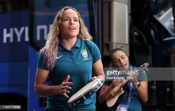 Monica of Brazil arrives at the stadium prior to the 2019 FIFA Women's World Cup France group C match between Brazil and Jamaica at Stade des Alpes...