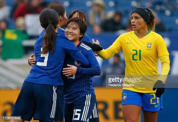 Monica of Brazil congratulates Uuka Momiki and Hina Sugita of Japan after a 31 Japan victory in a 2019 SheBelieves Cup match between Brazil and Japan...
