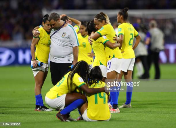 Monica of Brazil looks dejected following the 2019 FIFA Women's World Cup France Round Of 16 match between France and Brazil at Stade Oceane on June...