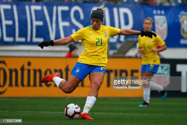 Monica of Brazil plays during the 2019 SheBelieves Cup match between Brazil and Japan at Nissan Stadium on March 2 2019 in Nashville Tennessee