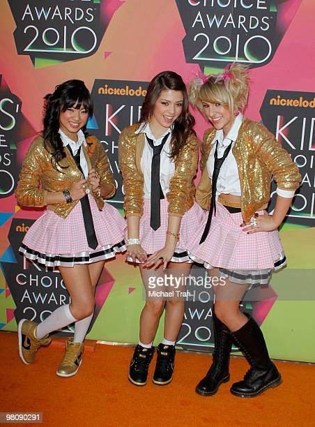 Monica Parales Jacque Rae Pyles and Mandy Rain of School Gyrls arrive at Nickelodeon's 23rd Annual Kids' Choice Awards at Pauley Pavilion on March 27...