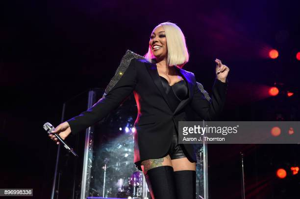 Monica performs on stage at Little Caesars Arena on December 21 2017 in Detroit Michigan