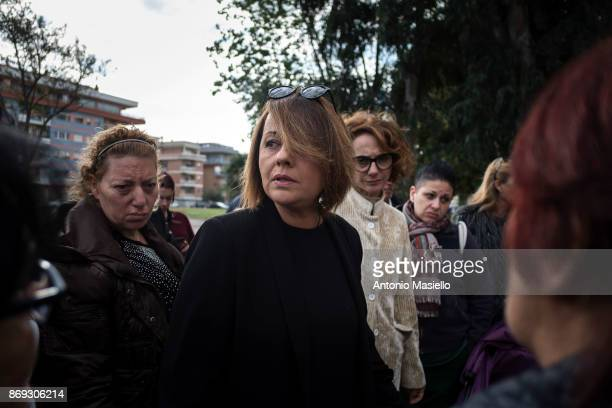 Monica Picca candidate for the presidency of the Ostia's city hall speaks with the residents during the protest against the evictions and...