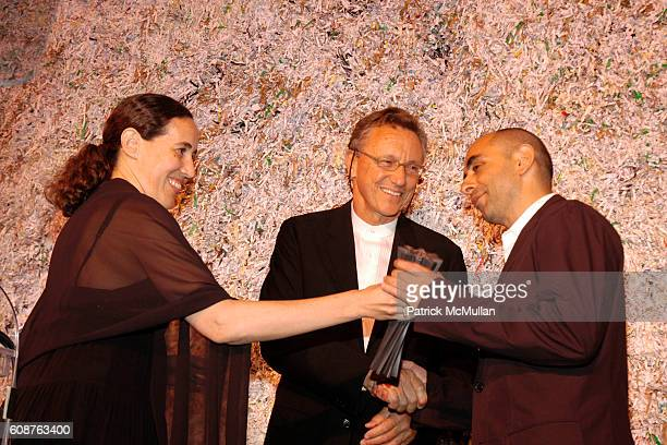 Monica Ponce de Leon, Richard Gluckman and Nader Tehrani attend Cooper Hewitt Museum's National Design Awards Gala at Cooper Hewitt Museum on October...