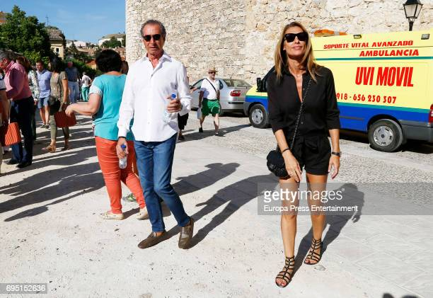 Monica Pont and Jose Cacheiro attend the traditional Spring Bullfighting performance in Brihuega on June 10 2017 in Guadalajara Spain