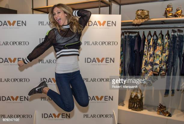 Monica Pont attends a press presentation for IDAWEN Sportwear Collection at the IDAWEN fashion store on March 8 2018 in Barcelona Spain