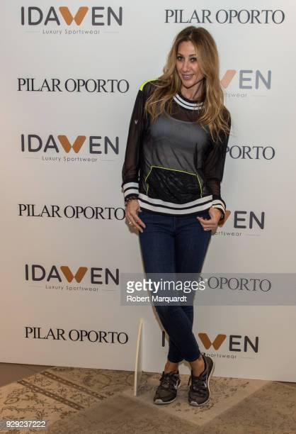 Monica Pont attends a press presentation for the IDAWEN Sportwear Collection at the IDAWEN fashion store on March 8 2018 in Barcelona Spain