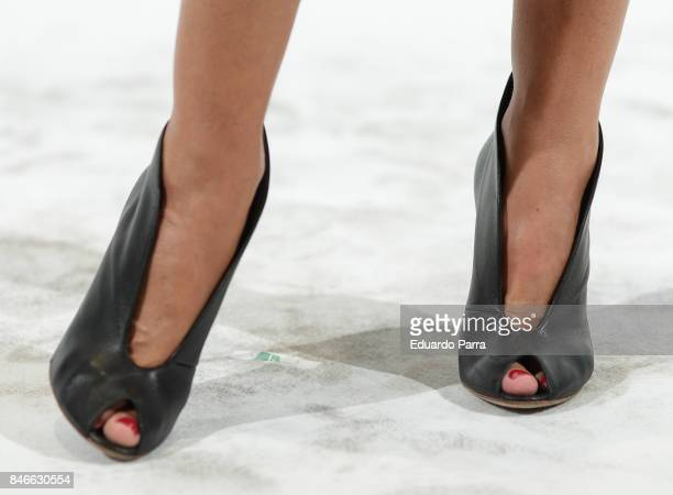 Monica Pont shoes detail attends the 'Yo Dona MBFW opening party' photocall at Barcelo hotel on September 13 2017 in Madrid Spain