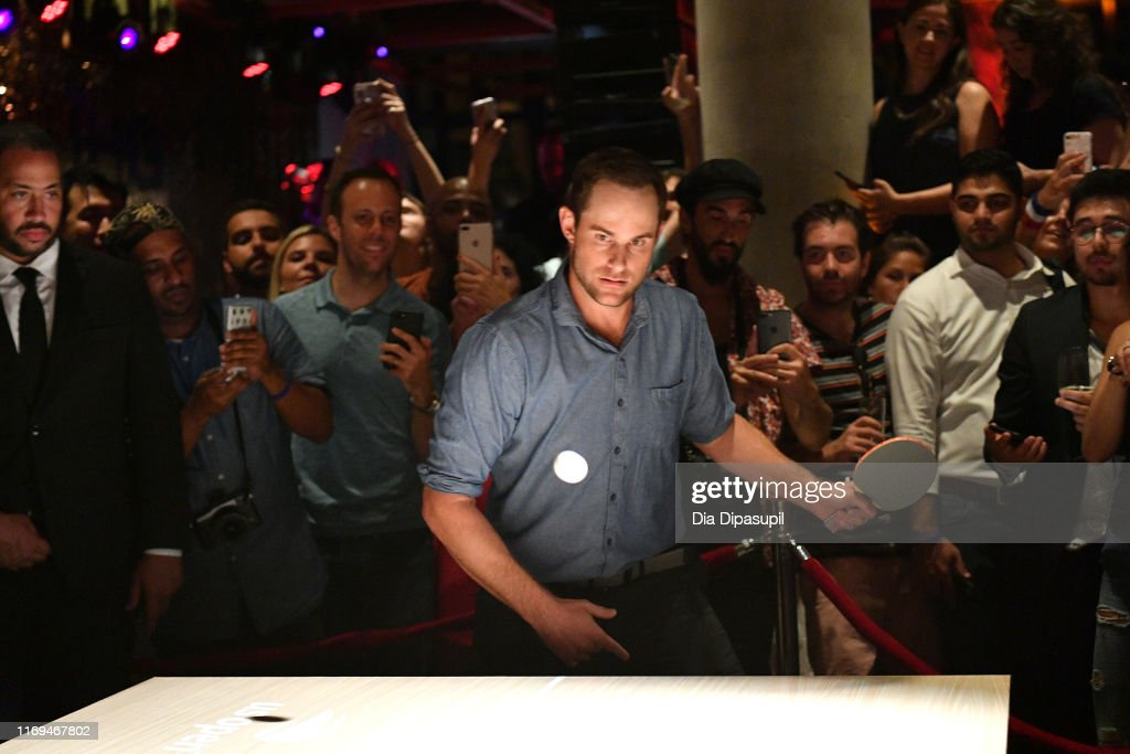 "Andy Roddick, Monica Puig And Leon Bridges Excite The Crowd With An Epic Table Tennis Match And Performance During The IHG Hotels & Resorts ""Legends, Unmatched"" Event At Kimpton Hotel Eventi : News Photo"
