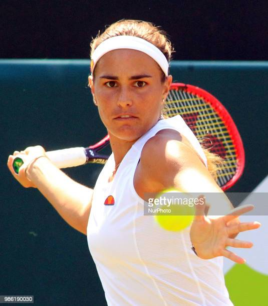 Monica Puig during his match against Victoria Azarenka day three of The Boodles Tennis Event at Stoke Park on June 28 2018 in Stoke Poges England