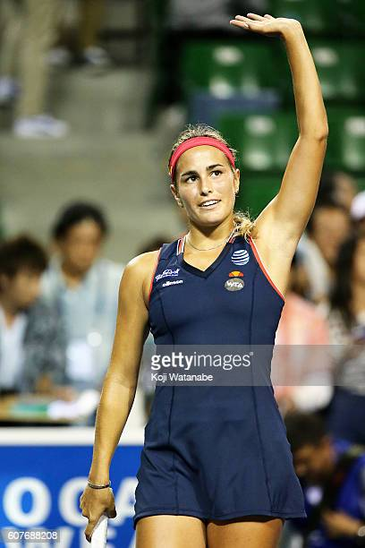 Monica Puig of Puerto Rico celebrate defeating Varvara Lepchenko of the United States during women's singles match day one of the Toray Pan Pacific...