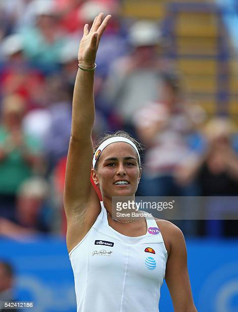 Monica Puig of Puerto Rico celebrates her victory during her quarter final women's singles match against Kristina Mladenovic of France on day five of...