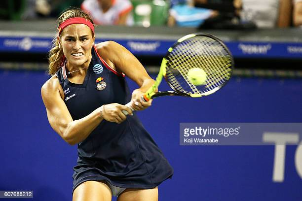 Monica Puig of Puerto Rico competes against Varvara Lepchenko of the United States during women's singles match day one of the Toray Pan Pacific Open...