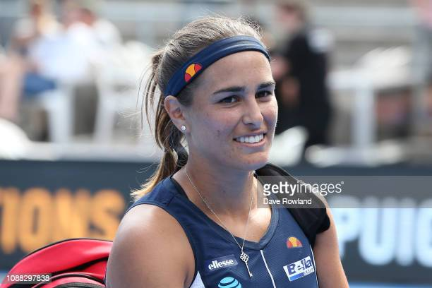 Monica Puig of Puerto Rico leaves the court after winning her match against Bethanie MattekSands of United States during day one of the 2019 ASB...