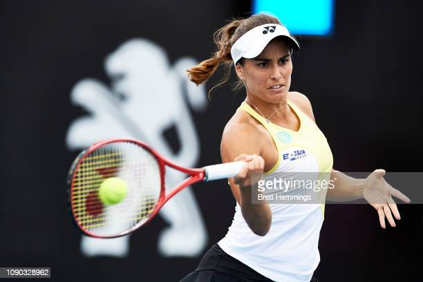 Monica Puig of Puerto Rico plays a forehand shot against Bethanie MattekSands of The USA during day one of the 2019 Sydney International at Sydney...