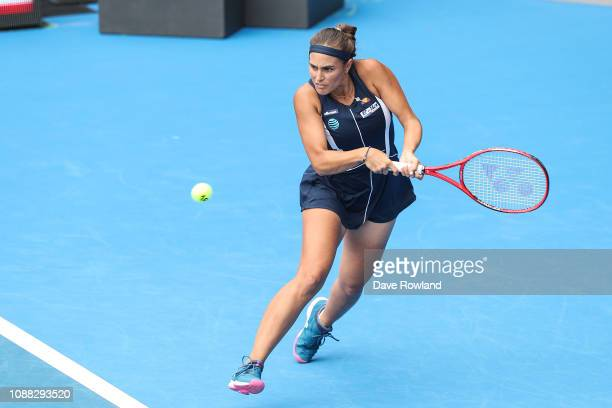 Monica Puig of Puerto Rico plays a shot against Bethanie MattekSands of United States in their match during day one of the 2019 ASB Classic at the...