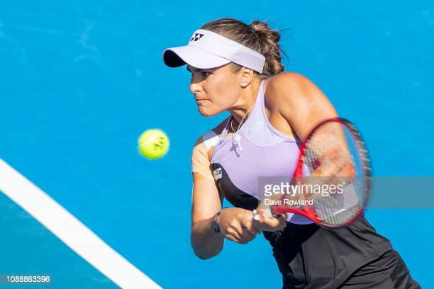 Monica Puig of Puerto Rico plays a shot in her singles match against SuWei Hsieh of Taiwan during the ASB Classic at the ASB Tennis Centre on January...
