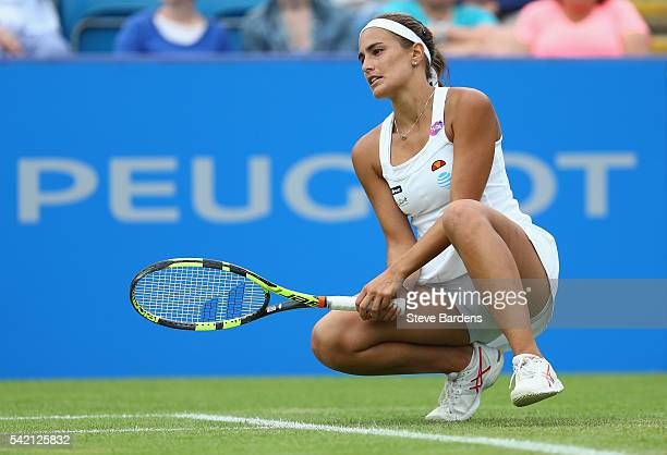 Monica Puig of Puerto Rico reacts during her third round women's singles match against Caroline Wozniacki of Denmark on day four of the WTA Aegon...