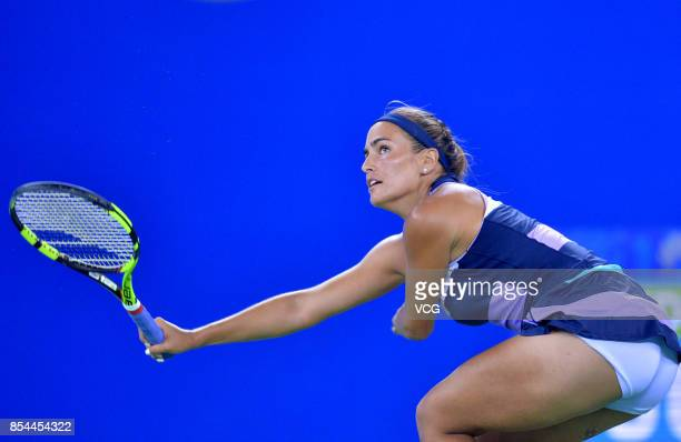 Monica Puig of Puerto Rico reacts during the second round Ladies Singles match against Peng Shuai of China on Day 3 of 2017 Dongfeng Motor Wuhan Open...
