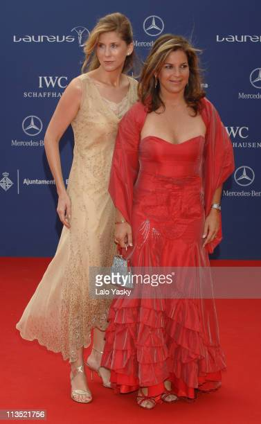Monica Seles and Arantxa Sanchez Vicario during 2006 Laureus World Sports Awards Red Carpet Arrivals in Barcelona Spain