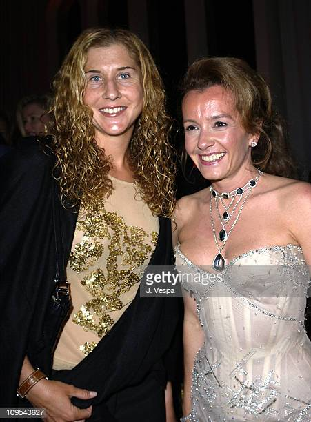 Monica Seles and Caroline GruosiScheufele during 2003 Cannes Film Festival Roberto Cavalli Fashion Show Dinner at Palm Beach in Cannes France