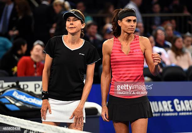 Monica Seles and Gabriela Sabatini attend the BNP Paribas Showdown on March 10 2015 at Madison Square Garden to celebrate the 25th anniversary of...
