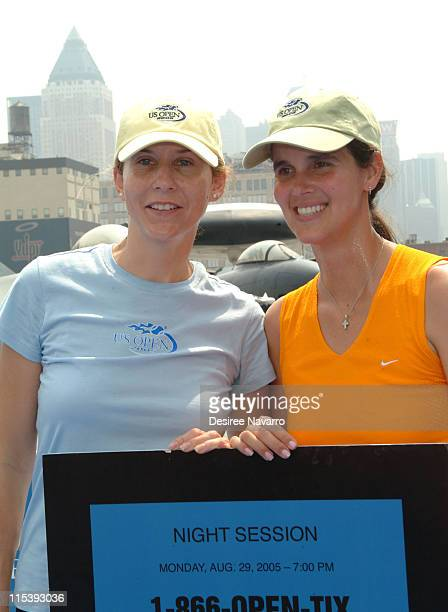 Monica Seles and Mary Joe Fernandez during Monica Seles and Mary Joe Fernandez Join NYC Kids for the Debut of Blue Tennis Court and Tennis Tips on...