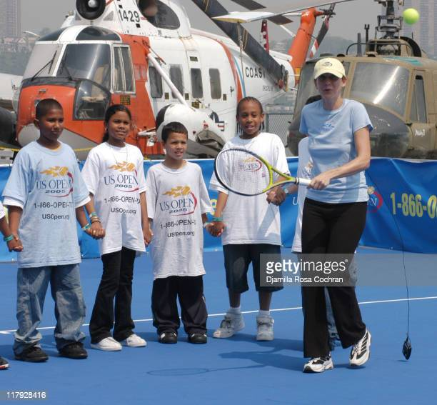 Monica Seles and NYC Kids during Monica Seles and Mary Joe Fernandez Join NYC Kids for the Debut of Blue Tennis Court and Tennis Tips on the Intrepid...