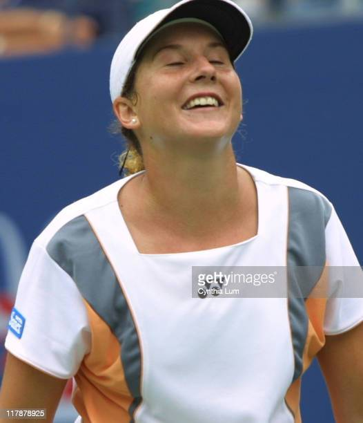 Monica Seles celebrates her victory over Cho Yoonjeong of Korea 61 57 63
