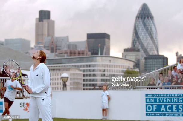 Monica Seles during American Express Wimbledon at Tower Bridge Pro Celebrity Tennis Night at Tower Bridge in London Great Britain