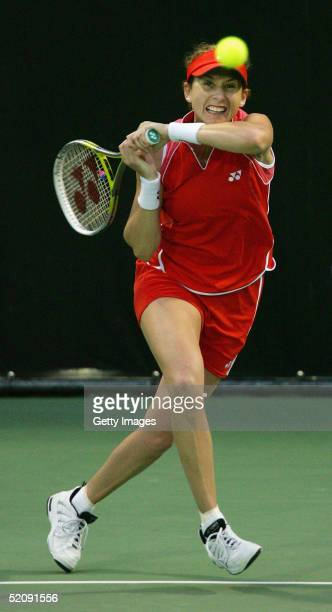 Monica Seles hits a return during her exhibition match against Martina Navratilova at the ASB Tennis Centre in Auckland February 1, 2005 in Auckland,...