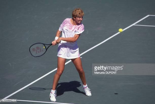 Monica Seles lors du tournoi de tennis de Flushing Meadows le 6 septembre 1991 à New York EtatsUnis