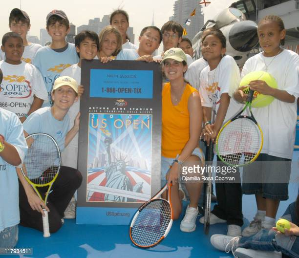 Monica Seles Mary Joe Fernandez and NYC Kids during Monica Seles and Mary Joe Fernandez Join NYC Kids for the Debut of Blue Tennis Court and Tennis...