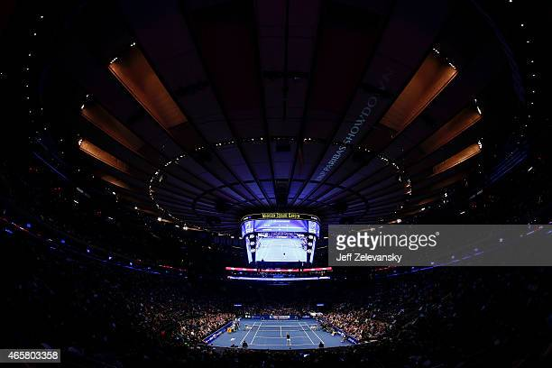 Monica Seles of the United States faces Gabriela Sabatini of Argentina during the BNP Paribas Showdown at Madison Square Garden on March 10 2015 in...